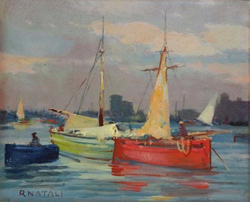 Barche in porto - cm 20x25